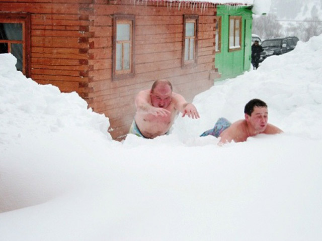после бани, сауны, снег